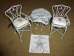 16 Ashton Drake Gene Accessories Patio Set White Chairs & Table