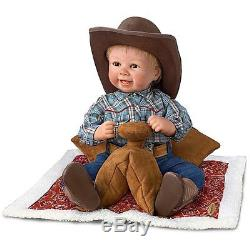 18 Sherry Rawn Baby Cowboy Doll with Saddle Display The Ashton-Drake Galleries