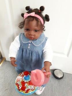 AA Ethnic Toddler Doll Ashton Drake Jasmine at 1 1/2 yrs old 24 by W. Hanl