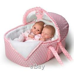 Ashton Drake Lullaby Twins Baby Dolls With Bassinet By