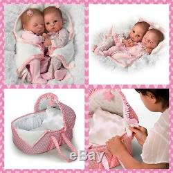 Ashton Drake Lullaby Twins Baby Dolls With Bassinet By Waltraud Hanl