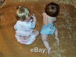 ASHTON DRAKE Porcelain BABY DOLLS BOY Snug as a Bug GIRL- Cute as a Button