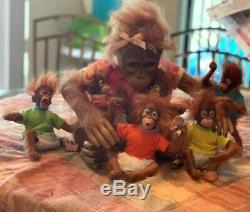 Annabelle's Hugs Ashton Drake Baby Monkey Doll Collection MAMMA AND 6 BABIES
