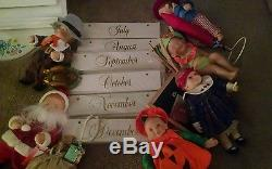 Ashton Drake 1995 Calendar Babies Lot of All 12 Month Dolls with Calendar