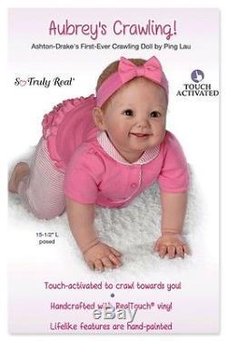 Ashton Drake -AUBREY'S CRAWLING Interactive baby doll by Ping Lau