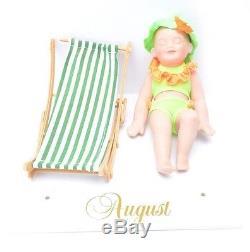 Ashton Drake Calendar Babies (1995) Porcelain Dolls, Wooden Perpetual Calendar