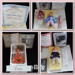 Ashton Drake Calendar Babies Display Wooden Perpetual Calendar 12 Dolls 1995