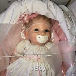 Ashton Drake Cheryl Hill Signature My Bundle of Joy Doll NIB with Bassinet