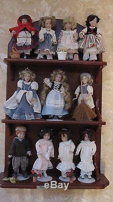 Ashton Drake/Dianna Effner's Storybook Dolls Set of 11 and Display Shelf