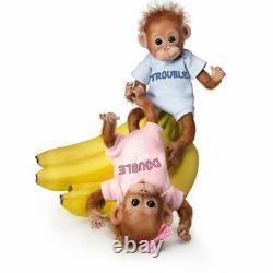 Ashton-Drake Double Trouble Poseable Baby Orangutan Twins With Wispy Hair