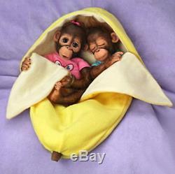 Ashton Drake Frankie & Fiona Monkey Baby Doll Twins By Cindy Sales