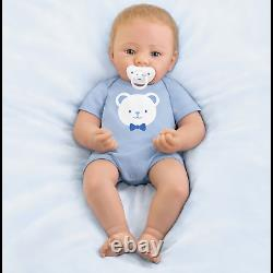 Ashton Drake Little Buddy Baby Boy Doll With Magnetic Pacifier by Sandy Faber