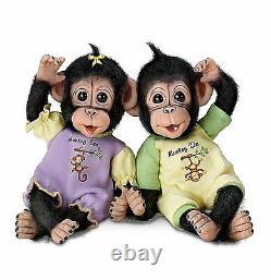 Ashton Drake Monkey See, Monkey Do Poseable Twin Baby Monkey Doll Set