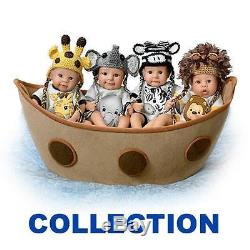 Ashton Drake NOAH S ADORABLE ARK complete set of 4 dolls with fabric ark