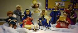 Ashton Drake Porcelain Nativity 9 piece Set of Dolls All NICE in box with certif