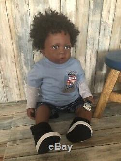 Ashton Drake Reborn Redone Jasmine At 1 1/2 Now Baby Toddler Boy Ethnic AA Doll