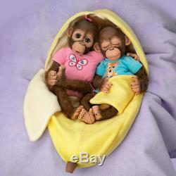 Ashton Drake So Truly Real Monkey Orangutan Frankie & Fiona Baby Dolls 13 Twins