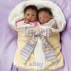 Ashton Drake Waltraud Hanl Jada And Jayden Poseable Twin Baby Doll Set