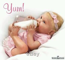 Ashton Drake baby Doll Tippy Toes Lifelike Feeding Bottle Nappy Headband