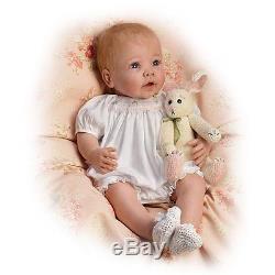 Bunny Hugs Lifelike Poseable Baby Girl Doll With Bunny Friend The Ashton-Drake