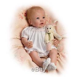 Linda Murray Bunny Hugs Lifelike Poseable Baby Girl Doll With Bunny Ashton Drake