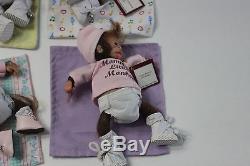 Lot of 7 Ashton Drake Baby Monkies Lil Bundles Monkey Dolls Blankets Tags Small