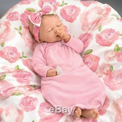 Rosie 19'' Ashton Drake Baby Doll With Custom Swaddle Blanket New