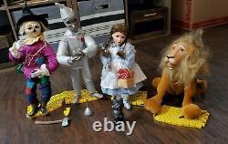 Set of 4 Wizard of Oz Porcelain Doll Ashton Drake Lion Scarecrow Tin Man Dorothy